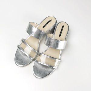 Zara Silver Mid Chunky Heel Sandals